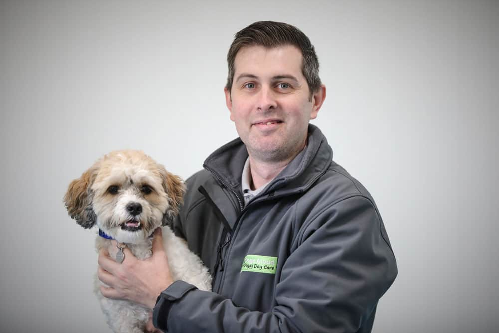 Allan Todd with one of our dogs